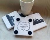 Personalized Philadelphia Skyline Wedding Favor Coasters - Philly Wedding Keepsakes - Set of 25