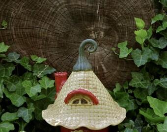 Handbuilt Ceramic Magical Toad House Fairy house Garden Decoration Gardener Gift Art hand built ceramic clay house gnome claysoul ooak