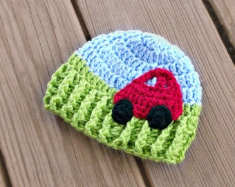Car Baby Hat - Baby Boy Hat - Crochet Baby Hat - Crochet Car - Baby Boy Beanie Hat - Crochet Baby Boy - Car Baby Shower Gift