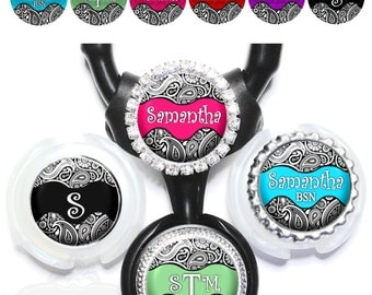 Paisley Littmann Stethoscope Tag - Personalized Black & White Print Nurse Steth ID in 6 Colors with Name, Monogram, Occupation Title (A029)