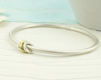 Silver and Gold Spinner Bangle - solid silver bangle-silver bangle-gold bangle-silver gold bangle-silver bracelet-matte bangle-new mum gift