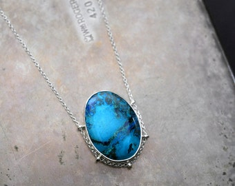 Vibrant, path setting no. 1…chrysocolla in sterling silver necklace