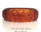 Root Beer Bakelite Bangle Hand Carved Alligator Pattern Vintage 1930s