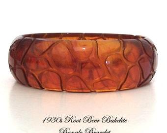 Root Beer Bakelite Bracelet Hand Carved Alligator Pattern Deeply Carved Tortoiseshell Root Beer Bangle Art Deco Authentic