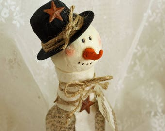Snowman Christmas Decor  Holiday Decoration Ornament Snow Vintage Assemblage Baby it's cold outside