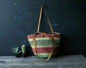 Bohemian Jute Market Bag With Leather Straps Woven Red Green Yellow Vintage From Nowvintage on Etsy