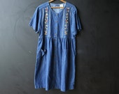 Short Denim Erika Dress With Embroidery and Front Pockets Bohemian Style Tie in Back Size Large Vintage From Nowvintage on Etsy