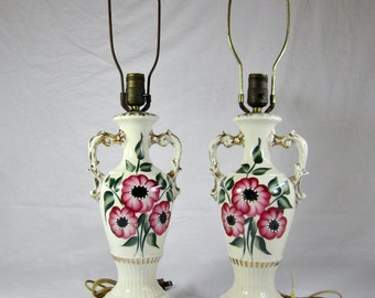 VINTAGE CERAMIC LAMPS Pair / Hand Painted Table Lamps / Pink Floral / Gold Accents / Urn Shaped / Double Handles / 1940s