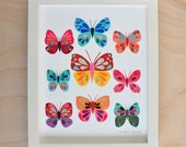Butterfly Collection, 8x10 Fine Art Print, Megan Jewel, Butterfly Art, Nursery Decor, Colorful Print, Cut Paper, Art for Kids, Joyful