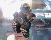 vintage dog figurine terra cotta Japan black poodle