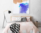 "Large Modern Abstract Watercolor Print of Painting, LIMITED EDITION PRINT, giclee, blue/purple, pink, turquoise  ""Winter River"" contemporary"
