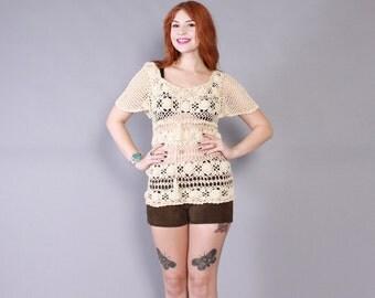 Vintage 70s TOP / 1970s Flutter Sleeve Sheer Open Weave Ivory Crochet Sweater