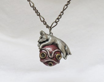 Princess Mononoke Necklace White Wolf Mask