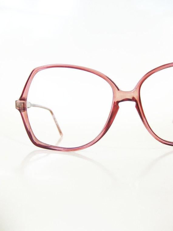 Bending Plastic Frame Glasses : Vintage 1970s Oversized Plum Dark Purple Clear Glasses
