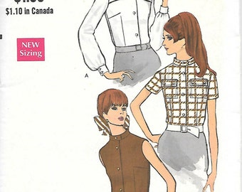 Vogue 7354 - 1960s Mod Blouse Vintage UNCUT Sewing Pattern Bust 34 Mandarin Collar Sleeveless
