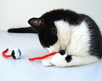 2 Blue Eyes Catnip Toy, Crochet Cat Toy Eyeball - 1 pair