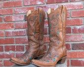 "Corral Vintage Brown and Turquoise Goat Cowgirl boots Womens size 10 B 13"" shaft"