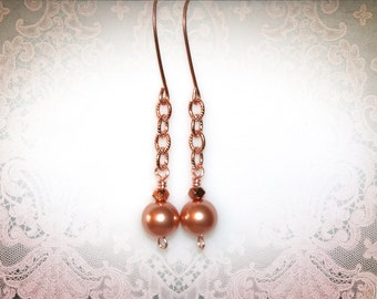 Rose Gold Pearl Dangle Earrings. Bridal Jewelry. Bridesmaid Earrings. Special Occasion Jewelry