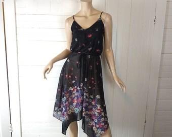 Fairy Disco Dress- 70s Handkerchief Hem- Black & Purple Floral- Spaghetti Straps