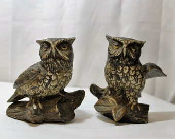 Pair of Homco Owl Figurines, 1980s