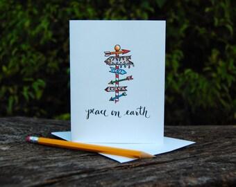 Peace on Earth Holiday Card - Arrows, Faith, Hope, Love Christmas Card