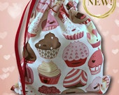 NEW Cupcakes -  February Collection - Solo Sheepie Project Bag for Knitting or Crochet