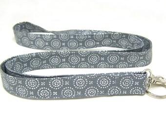 Fabric Lanyard, ID Badge Lanyard, Stylish Grey & Silver Medallions Fashion Key Lanyard, Women's Cotton Lanyard, Teacher Lanyard