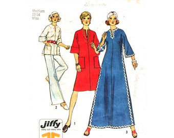 1970s Vintage Dress or Top Pattern Simplicity 6390 Kimono Sleeve Caftan Hippie Dress Tunic Top Patch Pockets Women Sewing Pattern Bust 34 36