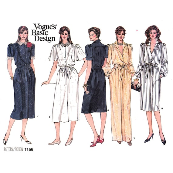 Blouson Dress Sewing Pattern Vogue 1156 Maxi Dress, Button Front Long Sleeve Size 8 10 12