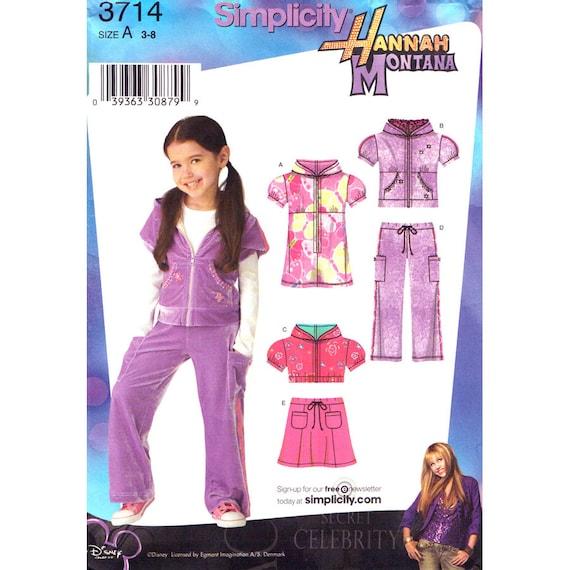 Girls Sewing Pattern Hoodie Dress Top Skirt Pants Simplicity 3714 Hannah Montana Size 3 to 8