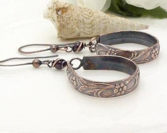 Long copper hoop earrings with garnet, handmade patterned copper jewelry