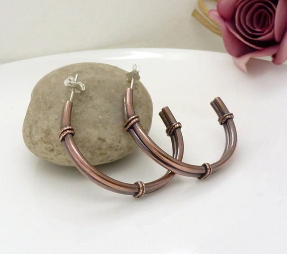 Big large solid copper hoop earrings, Oxidized copper jewelry, New Zealand earrings
