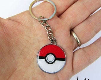 NEW Red White Game Ball Keychain - Inspired by Pokemon-Go