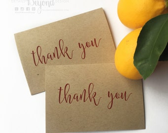 Kraft and Red Thank You Cards - Folded with Blank inside - Note Cards - Set of 10 note cards with cream envelopes