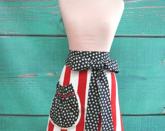 Towel Apron - Hostess Apron - 4th of July - Stars and Stripes- Red, White & Blue