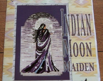 2001 cross stitch pattern Indian Moon Maiden by northern pine designs Linda Lachance