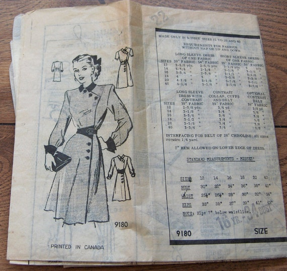 Vintage 40s Marian Martin Sewing pattern 9180 Misses DRESS sz 16  B34 unprinted pattern