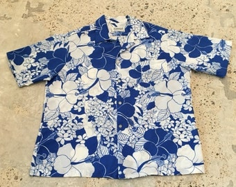Mens Hawaiian Shirt - Blue Hawaiian Shirt - Tropical Floral - by POMARE HAWAII - Vacation or Party Shirt - Island Pool Beach - 50 Chest