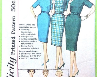 OnePiece Sheath Dress 1960s Simplicity 3574 simple to make dress back zipper slim skirt with back kick pleat Vintage Sewing Pattern Bust 36
