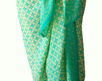 Chiffon Sarong Women's Fashion Accessory Green Beach Sarong Aqua & Cream Batik Scarf Chiffon Batik Sarong Skirt or Scarf ~ Super Soft Scarf