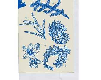 Blue Plant Pieces Card
