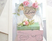 Romantic Love Roses Note Card, Love Notecard, Dreamy Roses Love Heart Sign Note Card, Shabby Chic Decor, Love Roses Paris Books Note Card,