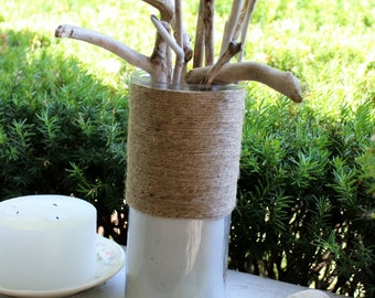 Coastal Driftwood Centerpiece with Twine Jar and Sand , Rustic Beach home Decor