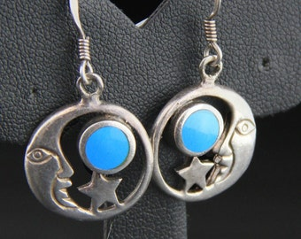 Vintage 80's 90's Star and Moon Turquoise Sterling Silver Earrings