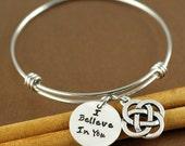 Personalized Bangle Bracelet, I Believe In You, Inspirational Bracelet, Silver Bangle Charm Bracelet, Celtic Bracelet