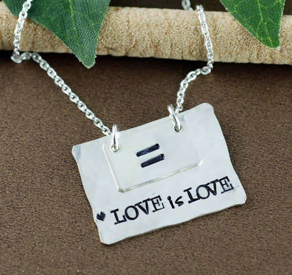Love is Love Necklace, Equality Necklace, Love is Love is Love Necklace, Hand Stamped Bar Jewelry, Equality Jewelry, LGBT Necklace