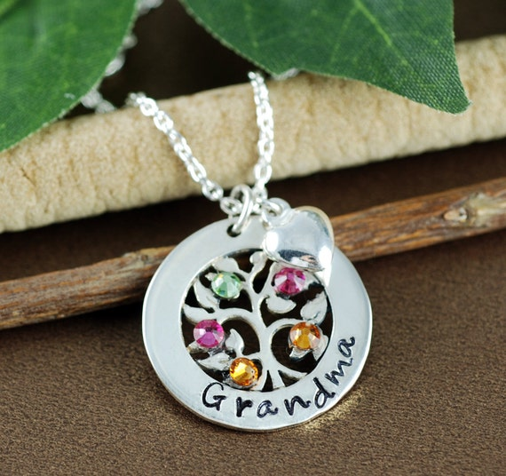 Family Tree Grandmother Birthstone Necklace, Tree of Life Necklace, Tree of Life Jewelry, Grandma Necklace, Grandma Gift, Gift for Grandma