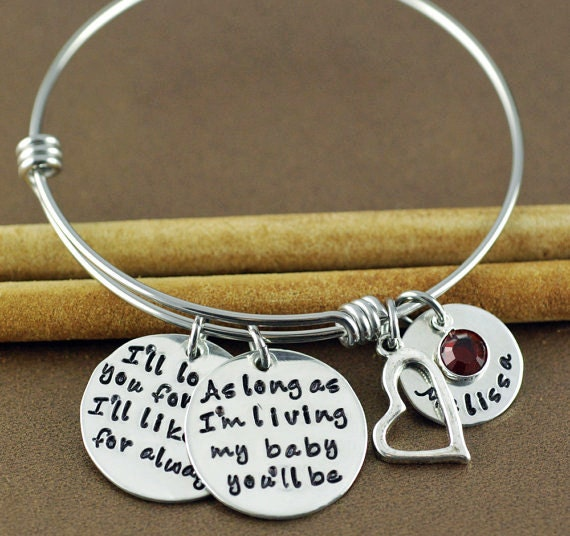 I'll love you forever, I'll like you for Always, Personalized Name Bangle Bracelet, Adjustable Bangles, As long as I'm Living