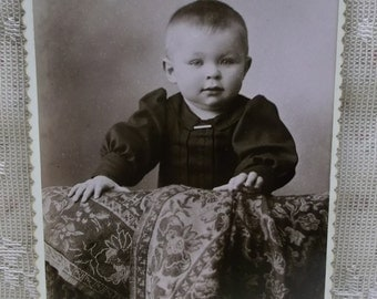 Antique Cabinet Photo-Darling Little Boy-Dress-Pin-Blanket-Zanesville,OH