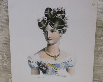 Beautiful Victorian Lady-Fashion Dress-Fan-Pearls & Flowers in Hair-Colorful Artist Signed Litho Print